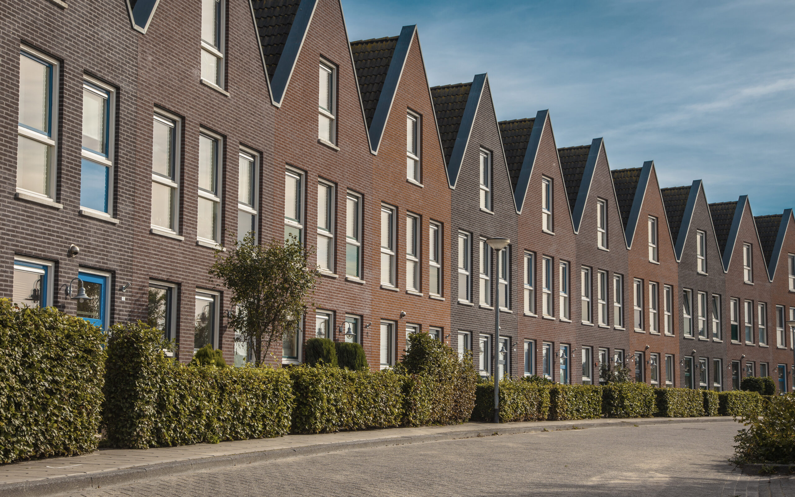 Facade in row of Modern Real Estate Family houses in a suburban area in Europe